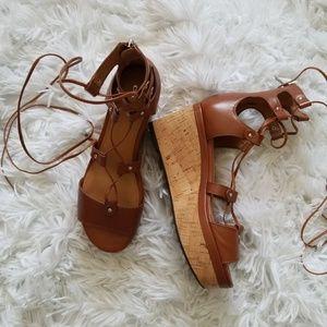 Coach Barkley Brown Lace Up Platform Sandal